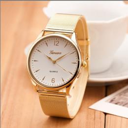 Mujeres GINEBRA Reloj más nuevo de aleación de malla cinturón Ginebra reloj precio de fábrica banda dorada señoras reloj de cuarzo