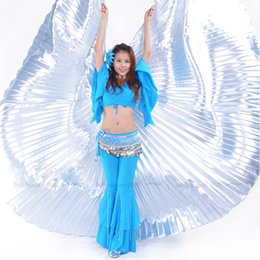 Wholesale Gorgeous Sexy Belly Dance Isis Wings For Bellydance Performance Costume Accessory With Sticks Multicolour Colors