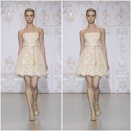 Wholesale 2015 moniquelhuillier New Party Dresses Antique Gold Guipure Lace Strapless Zipper Back Mini Short Prom Dress Homecoming Dresses Graduation