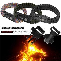 Wholesale Outdoor Camping Survival Bracelet Kits Cord Wristbands Emergency Rope Gear Whistle Flint Fire Starter JSSL