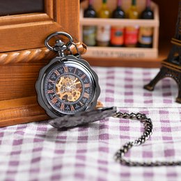 Wholesale 2016 New Men s Business Black Hollow Flower Style Case Round Roman Numbers Dial Skeleton Hand Wind Mechanical Pocket Watch