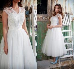 Wholesale 2016 Amanda Wyatt Lace Beaded Beach Arabic Wedding Dresses V neck Ankle Length Wedding Gowns Vintage Bridal Dresses