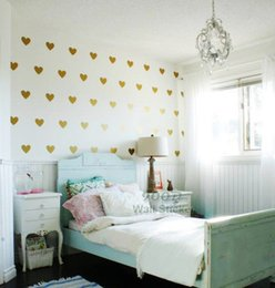 Home Decor Wall Sticker Gold Hearts Wall Sticker Removable Home Decoration Art Wall Decals Free