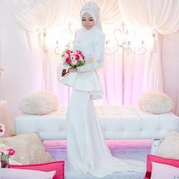 White Sheath Arabic Wedding Dress High Neck Long Sleeves With Peplum and Appliques Dubai Kaftan Bridal Gown zahy963