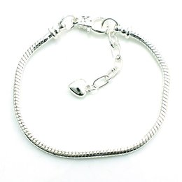 Wholesale Fashion Link Bracelets Europe Style Plating Silver Infinity Heart Snake Chain DIY Bracelets Bangles Accessories Jewelry