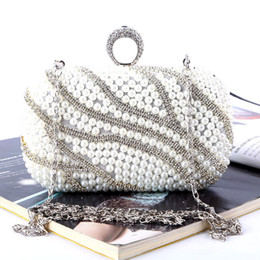 Wholesale Factory brand new handmade fabulous beaded diamond evening bag clutch purse with satin pu for wedding banquet party porm