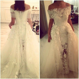 Vintage Off the Shoulder Wedding Dresses Charming Lace Appliques Flower Mermaid Bridal Dress Gowns Sweep Train vestidos de noiva