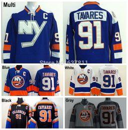 Promotion série de hockey 2014 Stadium Series New York Islanders Maillots de hockey # 91 John Tavares Maillot Royal Blue John Tavares Maillots cousus C Patch