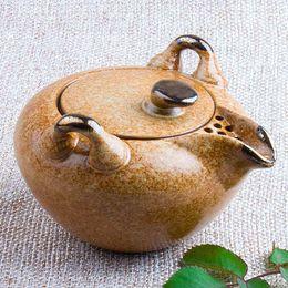 Wholesale Double Ear Handle Kungfu Teapot Top Grade Coarse Pottery ml Antique Pottery Tea Kettle Chahai Drink Pot Gift Filter Pourer order lt no tr