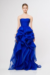 Fashion Unique Royal Blue Prom Gowns Strapless Ruffle Organza Reem Acra Long Formal Evening Dresses Empire Waist Sexy Party Dress