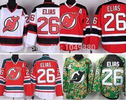 Free Shipping Cheap New Jersey Devils Hockey Jerseys #26 Patrik Elias Jersey White Red Camo Stitched Ellias Jerseys Size M-XXXL