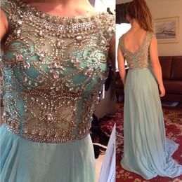 Beaded Aqua Blue Chiffon Evening Dresses 2019 Crystal Neck Formal Evening Gowns Outdoor Party Dress Long Prom Dress Custom Robe de soirée