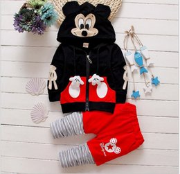 Wholesale 2016 Spring Kids Cartoon Mickey Sets Boys Girls Zipper Hoodies Striped Stitching Pants Children Outfits Child Clothing Baby Casual Suit