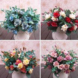 Wholesale Elegant Oil Painting Style Artificial Rose Silk Flowers Flower Head Floral Wedding Garden Decor DIY Decoration FZH075
