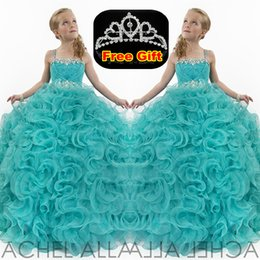 Wholesale Luxury Crystal Rtzee Girls Teens Girl s Pageant Dresses Spaghetti Strap Floor Length Formal Occasion Flower Girl s Ball Gowns Hunter