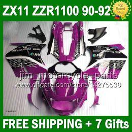 Purple black 7gifts For KAWASAKI NINJA ZX11R ZX11 90-92 36#111 ZZR 1100 ZX-11 ZZR1100 ZX 11 90 91 92 1990 1991 1992 Fairings purple blk