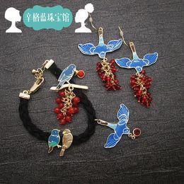 Wholesale Blue Les Nereides Singh instruction sheet Rhapsody painted enamel brooches earrings Bracelets