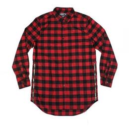 Man Women Two Side Extended Zipper Shirt T Shirt Hip Hop Street wear Plaid Casual Shirt