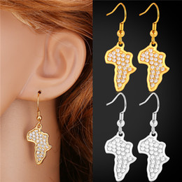 U7 Africa Map Drop Earrings New Trendy Platinum 18K Real Gold Plated Rhinestone Earrings For Women African Style Jewelry