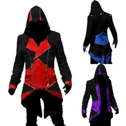 Wholesale 2015 Cosplay Game Clothing Assassins Creed III Conner Kenway Hoodie Coat Jacket Cosplay Costume colors choose