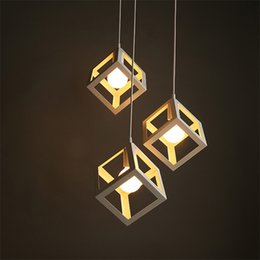 Indoor Pendant Lighting Iron Square Sahpe Pendant Lamps Iron Chandelier Pendant Light Vintage Chandelier Light Vintage Lamp E27 Bulb