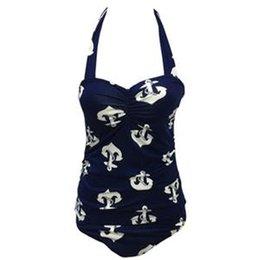 Wholesale The new style Siamese Siamese conserved anchor bikini swimwear high waist plus fertilizer to increase female B