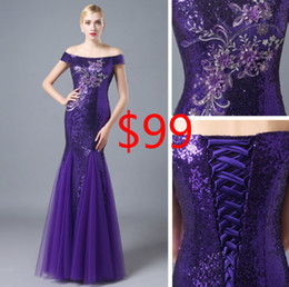 2016 Embroidery Mermaid Evening Dresses Purple Sequined Tulle arabic dresses Off Shoulder Dresses Party Evening Custom Lace Up Prom Gowns