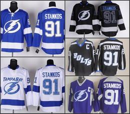 Wholesale Cheap Tampa Bay Lightning Hockey Jerseys Steven Stamkos Jersey Home Blue Road White Alternate Third Black Stitched Jerseys