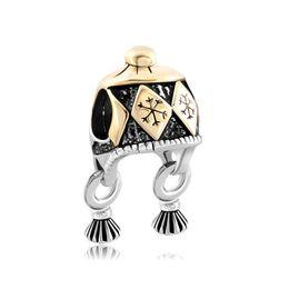 Fashion women jewelry European style girls snowflake woolen cap hat metal spacer bead lucky charms fits Pandora charm bracelet