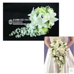 Wholesale Silk Rose Bouquets Weddings - Rose lily bride wedding Flower bouquet hand Flower the artificial flower adornment silk flower Free Shipping CN2