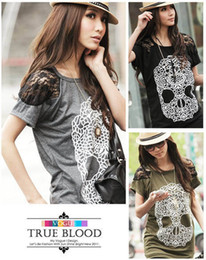 Womens Tshirts girls lace skull print clothes cool short Sleeve T shirt cotton Tops T-Shirt 9902