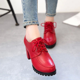 2015 new winter red high-heeled shoes round coarse shoes with waterproof lace deep women shoe tide