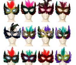 Wholesale Colorful Carnival Masks - Brand new DIY Party feather mask sexy women lady Halloween MARDI GRAS carnival colorful chicken feather Venice mask Festive Supplies gift