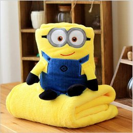 Wholesale 20P BBA466 baby color minions conditioning blanket pillow Despicable me cushion plush toys dolls minion office nap blankets christmas gift