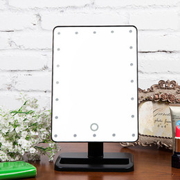 Wholesale Ovonni LED Touch Screen Makeup Mirror miroir Portable LEDs Lighted Make up Cosmetic Mirror Adjustable Vanity Tabletop Countertop