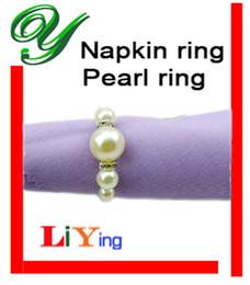 Wholesale pearl Napkin Rings wedding napkin holder Wedding decoration Supplies white plastic ABS ring for napkin table dinnerware