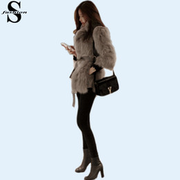 Korean Style Shaggy Faux Fur Coat Tie-Waist Long Sleeve White Kahaki Jacket Winter Womens Fur Suit Jackets CJE1013