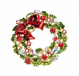 Free Shipping !Gold Plated Multicolored Rhinestone Crystal Diamante Wreath Christmas Brooches and Pins For Christmas Party