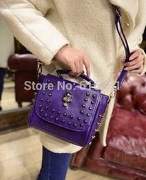 Wholesale-High quality fashion women skull rivet PU leather tote bags lady shoulder bags mini four colors