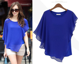 Plus Size Womans Blouses 2015 Summer New Fashion Black White Blue Short Batwing Sleeve Chiffon Top 2xl