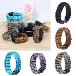 Wholesale Outdoor Survival Paracord Parachute Bracelets Sports Flint Fire Starter Scraper Whistle Emergency Gear Kits Hiking Camping Safety QCB