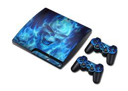 Superb Blue Skull Vinyl Decal PS3 Slim Skin Sticker 1 Console Skin & 2 Controller Skin Stickers For PS3 Slim