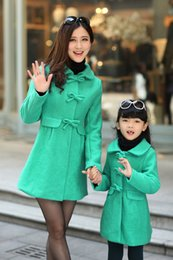 Wholesale-Fashion Fur collar Woolen Coat Family Set Parent-Child Clothes for Mother and Daughter Girls Wool Coats Women Woolen Coat BL57