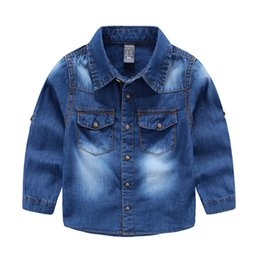 Wholesale Quality boy denim shirts cotton washed soft Long sleeve shirts for boy Indigo blue All match Tops Children clothes spring fall