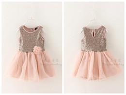 summer girl sleeveless flower dress princess short flower sequin dress girls summer sequins tutu dress shining dress for a girl in stock