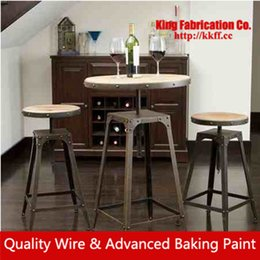 Wholesale Wrought iron dining table and Chair lift bar of solid wood coffee tables and chairs