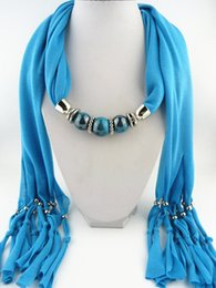 Wholesale Jewelry Pendant Necklace Scarves Beads Lady Magic Classic Scarf Shawl best gifts for lover Mixed Colors