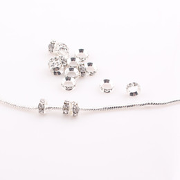 Wholesale 8MM Crystal Spacer Metal Silver Plated Rondelle Rhinestone Loose Beads for Jewelry Making Big Hole European Beads JJAL ZBE297
