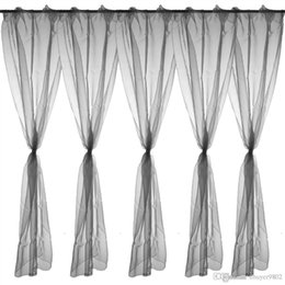 Wholesale Home Decorative Deep Grey Sheer Voile Window Panel Drape Curtain x140cm