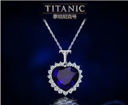 Colgante de zafiro titánica en Línea-Titanic Corazón Titanic del Océano Zafiro Cristal Cadena Collar Colgante Plata Joyas